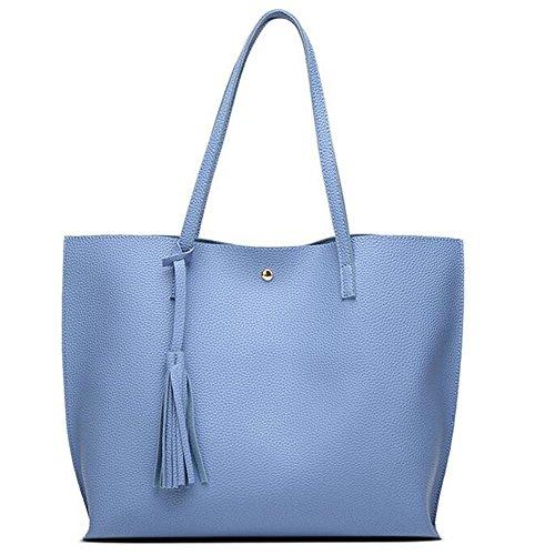 Lightweight Large Size Fashion Top-Handbag Shoulder Bag Simple Style Gift for Women(Blue)