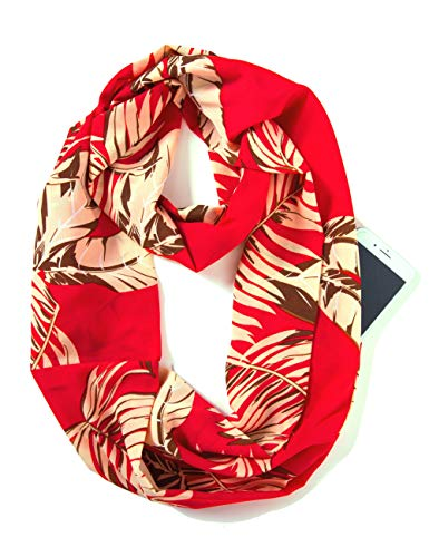 Elzama Infinity Loop Scarf with Hidden Zipper Pocket Woven Printed Patterns for Women - Travel - Pattern Pocket Scarf