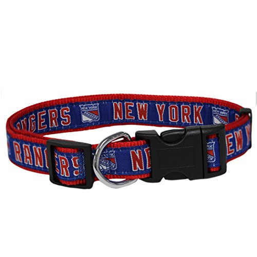 Pets First NHL New York Rangers Collar for Dogs & Cats, Medium. - Adjustable, Cute & Stylish! The Ultimate Hockey Fan Collar!