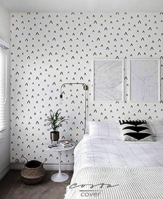 CostaCover Renters wallpaper Removable sticker wallpaper Cute Abstract in black & white Retro Chevron Decorative Minimalistic wall covering CC018