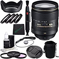 Nikon AF-S NIKKOR 24-120mm f/4G ED VR Lens + 77mm 3 Piece Filter Set (UV, CPL, FL) + 77mm +1 +2 +4 +10 Close-Up Macro Filter Set with Pouch + Lens Cap Keeper + Lens Hood + Lens Cleaning Pen Bundle