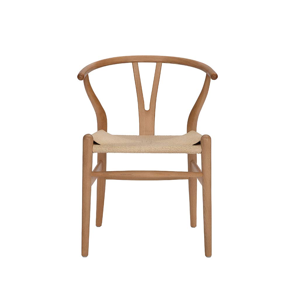 Tomile Wishbone Solid Dining Chairs Rattan Armchair Hans Wegner (Beech-Natural Wood Color),