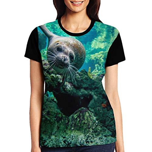 - ERGOU Women's Raglan Top Tee Cute Seal Sea Lion Print Summer Casual T Shirts Black