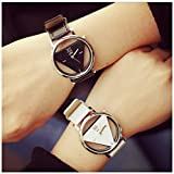 LinTimes Fashion Men Women Watch Triangle Quartz Analog Students Couple Wristwatch 2pcs Black White