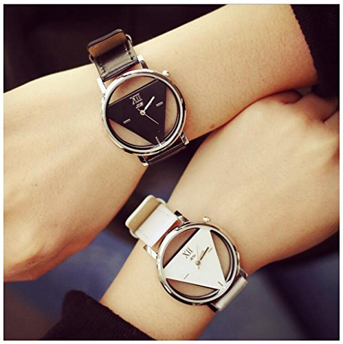 LinTimes Fashion Men Women Watch Triangle Quartz Analog Students Couple Wristwatch 2pcs Black White by LinTimes
