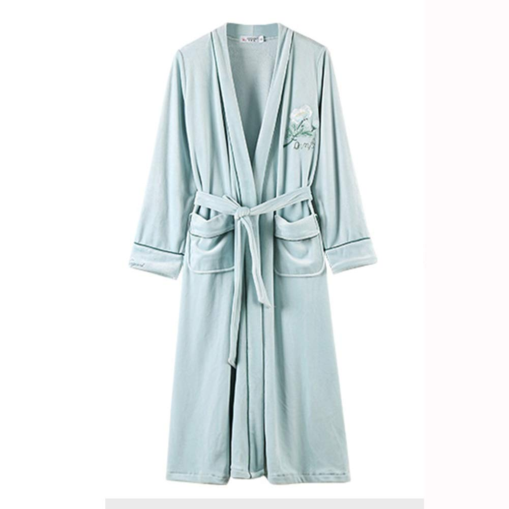 Robe 100% Polyester Fiber bluee Ladies Bathrobe Luxury Dress Gown Fluffy Super Soft Robes Warm and Comfortable Towel Bathrobe, 3 Yards (Size   XXXL)