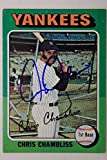CHRIS CHAMBLISS New York Yankees Autographed 1975 Topps #585 Signed Card 16F