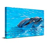 Royllent 1 Panel Framed Wall Art 16x24inch Dolphin Swim Painting The Picture Print On Canvas For Home Decor Decoration Gift piece (Stretched By Wooden Frame,Ready To Hang) RA-CP0049