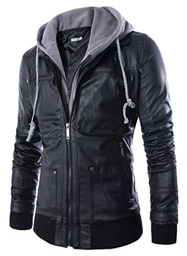 Men's Faux-leather Slim Fit Jackets With Removable Hood Black 4XL (Tag)