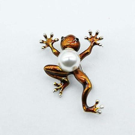 Luziang Broches para Ropa Mujer Rana de Perlas de Aceite de Goteo Verde Pin Broche Lindo-Adecuado para Todas Las Ocasiones
