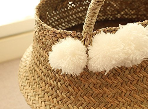 White pom poms sea grass belly basket panier boule double woven storage nur - Diametre panier basket ...
