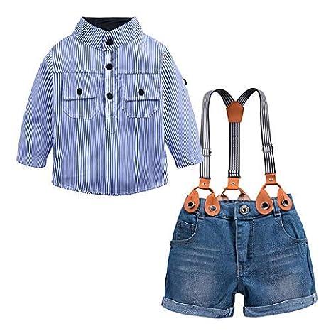 UANGER 2019 Traje de mezclilla Conjunto de traje Kids Baby Boys Camisa de manga larga con rayas azules de (Blue, 2): Amazon.es: Oficina y papelería
