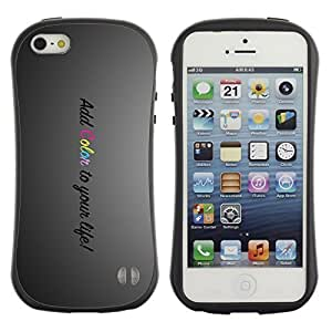 Hybrid Anti-Shock Bumper Case for Apple iPhone 5 5S / Happy Message Add Color