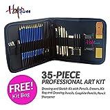 Happlee 35 Pcs Professional Art Sketch Pencils Kit Sketching & Drawing Set with Zipper Bag-Graphite Pencils, Charcoal Pencils, Drawing pencils, Sharpener, Charcoal Rod, Eraser, ect