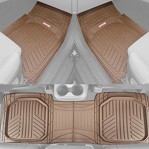 Motor Trend OF-933-BG Beige Deep Dish All-Climate Rubber Floor Mat (Performance Plus Heavy Duty Liners/Thick/Odorless/All Weather), 3 Piece