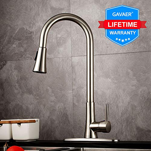 GAVAER Kitchen Faucet with Pull Down Sprayer,Single-Handle High Arc Brushed Nickel,360 Degree Swivel Spout Hot and Cold Water Kitchen Sink Faucet With Deck Plate. (Brushed Nickel)