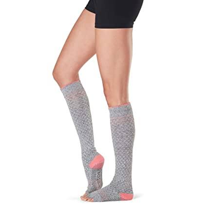 Toesox Grip Pilates Barre Socks-Non Slip Scrunch Half Toe ...
