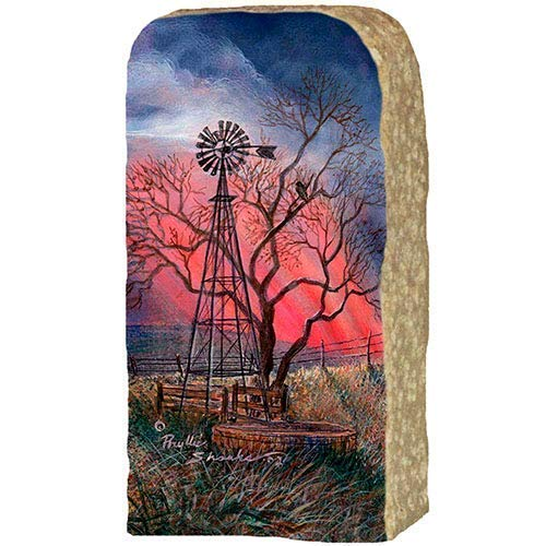 Originals Painted By Artist Phyllis Shanks Windmill with Red Sky Prints on Limestone Enhanced by Hand Painted Edge #313 Unique Artwork for Home and Office