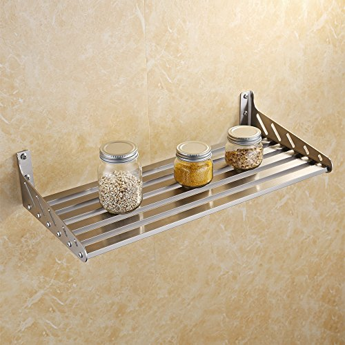 KES 24-Inch Kitchen Wall Mount Pot Pan Rack Wall Shelf SUS 304 Stainless Steel Rustproof Brushed Finish, KUR206S60-2