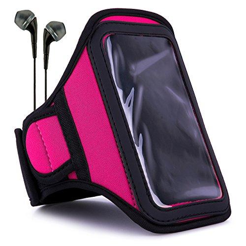 VanGoddy Sweat-Proof Hot Pink Neoprene Armband w/Black Earbu