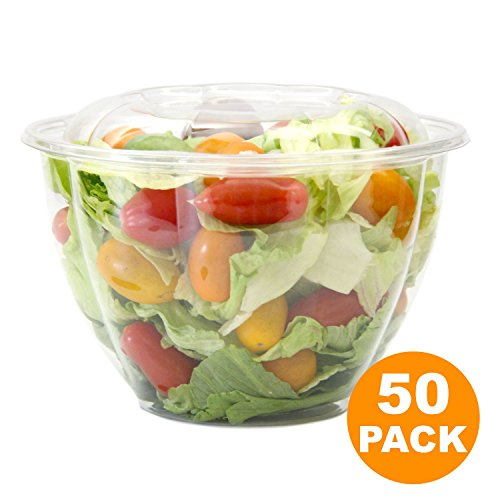 Lid Containers Dome (Clear Plastic Bowl With Dome Lids for Salads Fruits Parfaits, 48oz, Disposable, Large Size [50 Pack])