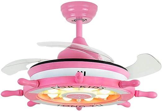 GAOLIQIN Ventilador de Techo de Dibujos Animados LED con Kit de Luces y Control Remoto, Sala de niños con iluminación integrada Lámpara de Techo LED Moderna, Montaje Empotrado Lámpara de Techo,Pink: Amazon.es: