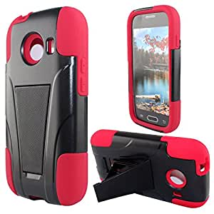 Mystcase (TM) For Straight Talk Samsung Galaxy ACE Advanced Layer HYBRID KICKSTAND Rubber Phone Case Cover + Screen Protector (Black Red)