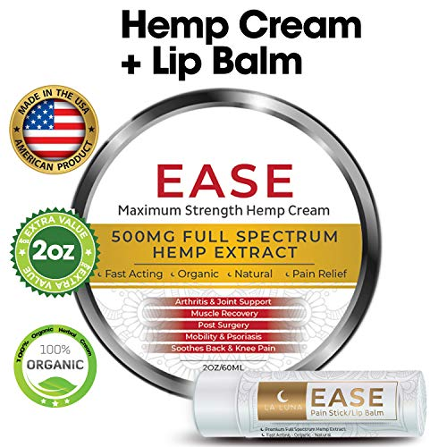 Muscle Inflammation Pain (Premium Organic Hemp Cream-Pain Relief for Arthritis, Inflammation & Joint Pain-500mg Hemp Extract w/Essential Oils-Hemp Salve for Psoriasis, Eczema, Sciatica, Neck, Back and Knees- Made in USA- 2oz)