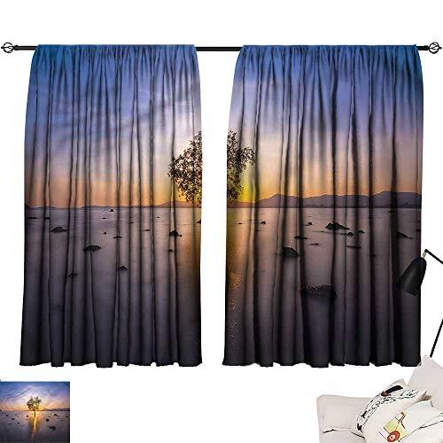 Jinguizi Room/Bedroom, Darkening Curtains Asian,Lone Tree Misty Water