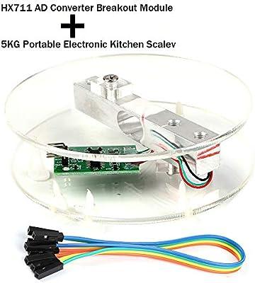 Innovateking EU Sensore di Peso della cella di carico Digitale Modulo Breakout Convertitore AD HX711 Bilancia da Cucina Elettronica Portatile 5KG per