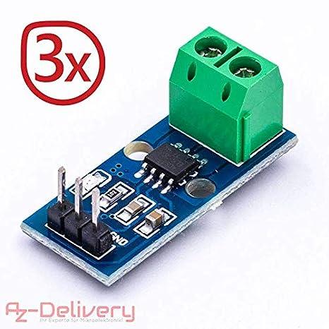 AZDelivery 3 x ACS712 Sensor de Corriente 30A módulo de Rango de medición para Arduino Bascom con ebook Gratis!: Amazon.es: Electrónica