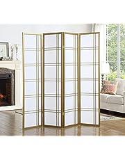 Roundhill Furniture RD042GL Seto 4-Panel 4 Golden Room Divider Screen, Gold