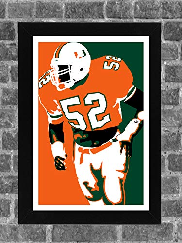 (Iconic Images Miami Hurricanes Ray Lewis Portrait Sports Print Art 11x17)