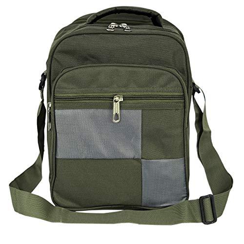 NISUN Nylon Sling Cross Body Travel Business Messenger Bag – Vertical Olive.
