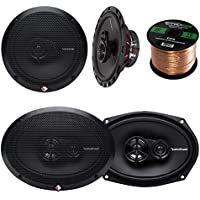 Car Speaker Package of 2x Rockford Fosgate R165X3 Prime 6.5 Inch 180 Watt 3-Way Full-Range Car Coaxial Speaker Bundle Combo With 2x R169X3 Prime 6x9 Inch Audio Speakers + 50 Foot 16g Speaker Wire