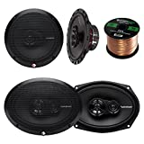 Car Speaker Package of 2x Rockford Fosgate R165X3 Prime 6.5'' Inch 180 Watt 3-Way Full-Range Car Coaxial Speaker Bundle Combo With 2x R169X3 Prime 6x9'' Inch Audio Speakers + 50 Foot 16g Speaker Wire