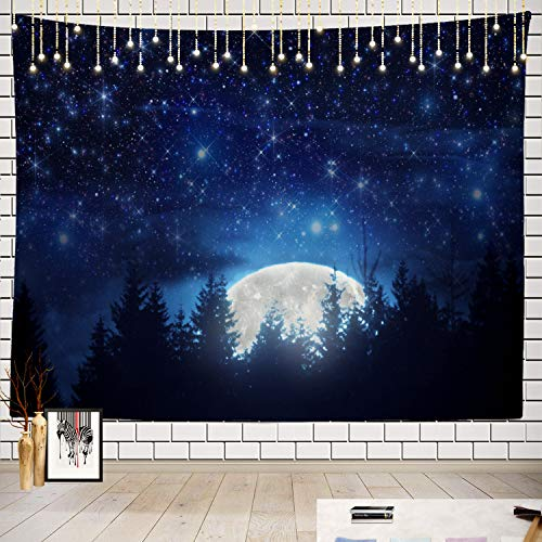 Batmerry Moon Tapestry, Harvest Moon Full Moon Picnic Mat Beach Towel Wall Art Decoration for Bedroom Living Room Dorm, 51.2 x 59.1 Inches, Black