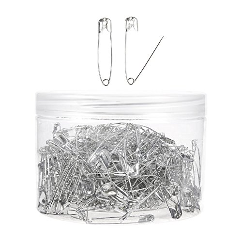 Safety Pins Bulk - 300-Piece Child Safety Pins Pack - Rust Resistant Baby Safety Pins for Fabric Diaper, Pattern Patching, Garment Repair, Quilting, Art Crafts Sewing - Silver, 1.5 x 0.2 Inches