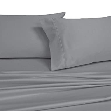 Royal's Solid Gray 1000-Thread-Count 4pc King Bed Sheet Set 100-Percent Cotton, Sateen Solid, Deep Pocket