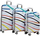 Nicole Miller Rainbow Hard-Sided 3-Piece Spinner Set: 28'', 24'', and 20'' (White)