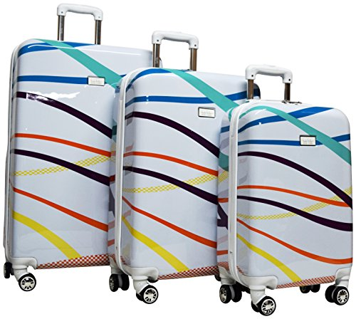 Nicole Miller Rainbow Hard-Sided 3-Piece Spinner Set: 28'', 24'', and 20'' (White) by Nicole Miller