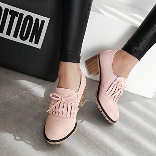 T-juli Kvinna Mode Oxfords Skor - Retro Rund Tå Halka På Tofs Chunky Häl Skor Rosa