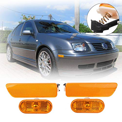 Value.Trade.Inc - New Pair For Fender Yellow Bumper Lights Side Markers For Volkswagen/VW Jetta Golf MK4 1999 2000 2001 2002 2003 2004 2005 ()