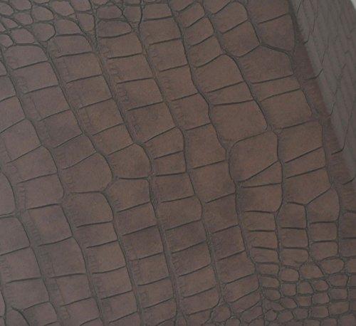 Designer Lampenschirm Kaiman Optik Kunst Leder rechteckig konische Form Braun
