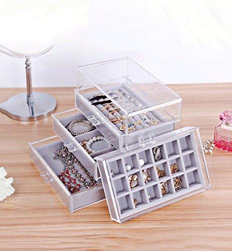Sun rain home Jewelry Box Transparent Acrylic Jewelry Storage Box Desktop Drawer Sorting Racks