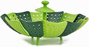 Lotus Steamer Basket for Steaming Food and Vegetable Folding Non-Scratch BPA-Free, Green