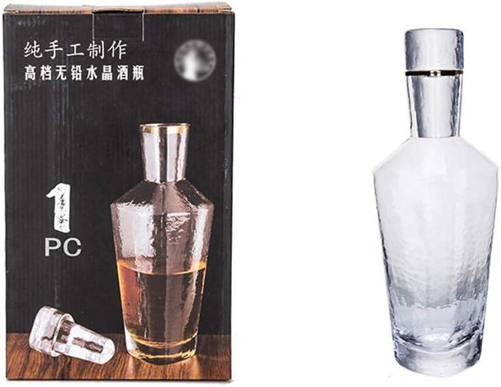 JDH Decantador de Whisky: Elegante Jarra de Vidrio Transparente Artesanal con tapón hermético con Caja de Regalo para Whisky, borbón, Whisky, Licor, 1000 ml