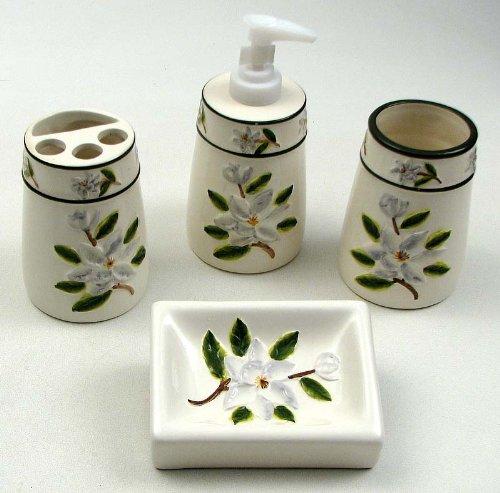 - Bathroom Set Magnolia Flower Home Decor Ceramic Figure Soap Dish Dispenser Toothbrush Vanity Holder Cup Home Accessories (4 pc. Set)