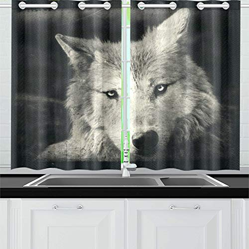 ENEVOTX Awesome Halloween Wallpaper with Mystical Wolf Kitchen Curtains Window Curtain Tiers for Café, Bath, Laundry, Living Room Bedroom 26 X 39 Inch 2 Pieces for $<!--$26.00-->