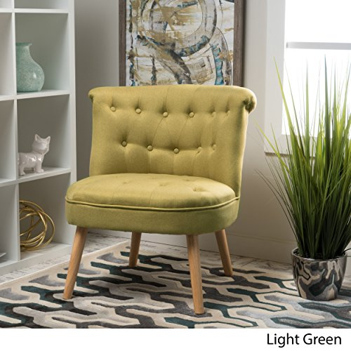 Donna Mid Century Fusion Light Green Button Tufted Fabric Chair